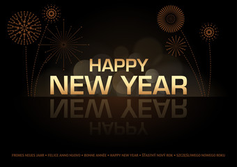 Happy New Year Greeting Card - Golden Text and Fireworks over Black, Vector