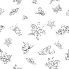 Seamless graphic pattern of butterflies
