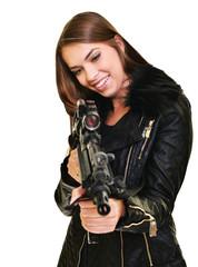 beautiful sexy girl holding gun