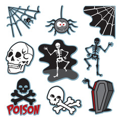 Skeleton illustration icon image set