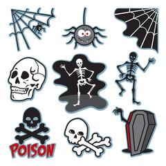 Skeleton illustration icon image set