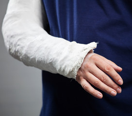 Man with a plaster