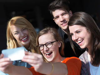 students group taking selfie