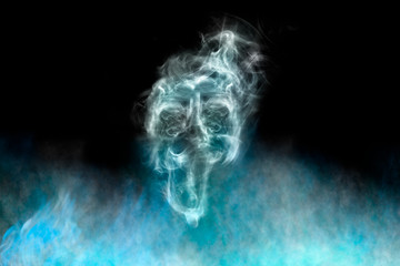 Smoke shaped ghost, black background