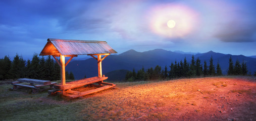 Bench and night on the mountain