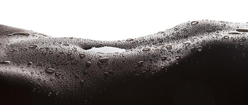 Water drops on woman skin letterbox