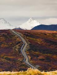 Oil Transport Alaska Pipeline Cuts Across Rugged Mountain Landsc