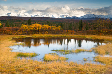 Fototapete - Fall Color Alpine Lake Alaska Range Mountain Peaks Autumn Season