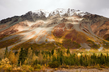 Fototapete - Fall Color Snow Capped Peak Alaska Range Fall Autumn Season