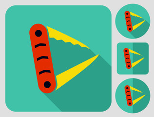 Touristic equipment. Swiss Army knife. Flat long shadow design. Hiking icons series.