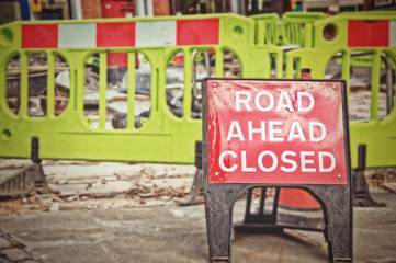 Road closed sign before the road construction