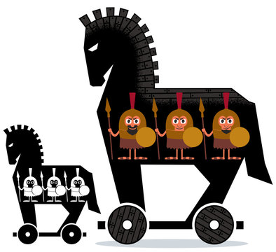 Trojan Horse / Cartoon Trojan horse with Greek soldiers in it in 2 versions.