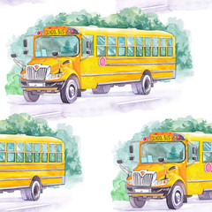 Watercolor schoolbus seamless pattern
