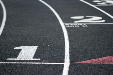 Starting line on a running track