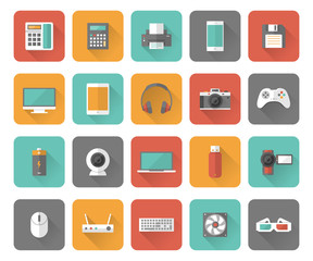 Set of 25 flat office, business, media and web design icons with long shadow effect.
