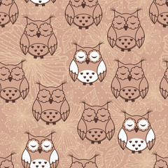 Photo sur Plexiglas Hibou Seamless pattern of owls on beige background