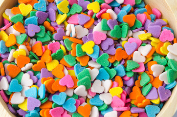 sweet colorful candy decorations in the form of heart