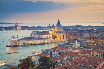 Venice. Aerial view of the Venice with Basilica di Santa Maria della Salute taken from St. Mark's Campanile.