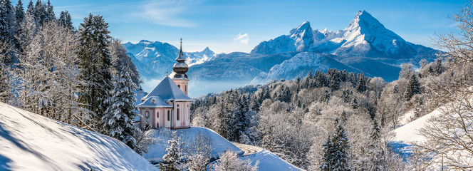 Wall Mural - Idyllic winter landscape with chapel in the Alps, Berchtesgadener Land, Bavaria, Germany