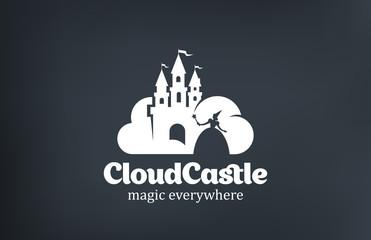 Vintage Magic Fairy Cloud Castle Logo design vector