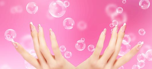 Light Pink  Art  Manicure. Nail. Beauty hands. Fashion Stylish Manicure