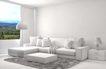 interior with sofa and CAD wireframe mesh. 3d illustration