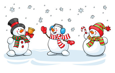 Vector card concept. Cute snowman set.