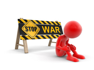 Stop war sign and man. Image with clipping path