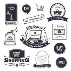 Fotobehang Vintage Poster Online shopping signs set