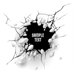 Obraz Cracked hole with space for text - fototapety do salonu
