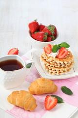 Breakfast with waffles