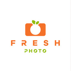 mandarin, orange logo form camera with double meaning flat style
