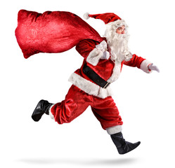 Santa Claus Running With A bag Of Gifts On A White Background