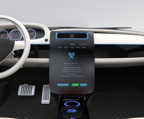 Update software by operating car center console. IoT concept.
