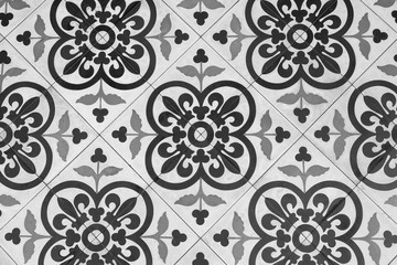 Black and White Vintage Floor Tile