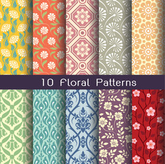 a seamlessly floral pattern set. 10 of tileable pattern units. a editable vector file.