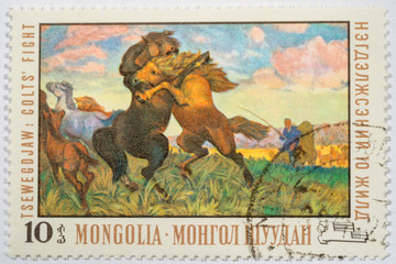 Moscow, Russia - October 3, 2015: A stamp printed in Mongolia sh