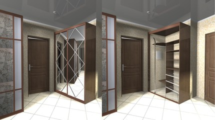 3D render interior design with a mirrored wooden wardrobe with sliding doors and shelves