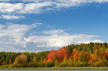 Landscape colorful autumn forest lake river sky clouds