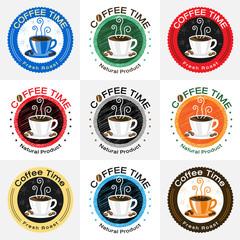 Set of coffee badge label logo design