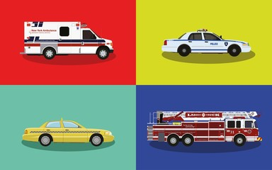 A set of service cars. Police, ambulance, fire truck, taxi.