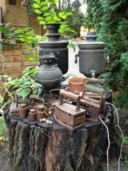 Old samovars isolated