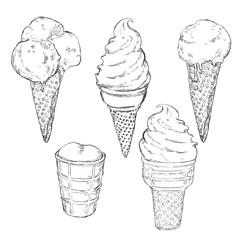 Vector Sketch Set of Ice Cream