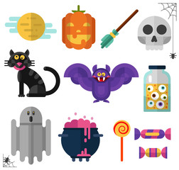 Flat style vector icons set of Halloween. Pumpkin, big moon, candy and lollipop, black cat, ghost, whitch's broom, bottle with eyes, pot with boiling magic potion, skull, and bat.