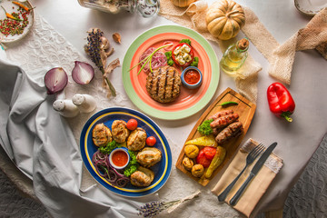 hot dishes of meat, property, and meat sausage
