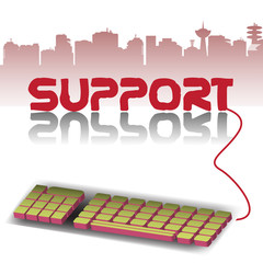 Abstract colorful background with a computer keyboard connected to the support word