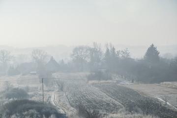 Zimowy, wiejski krajobraz