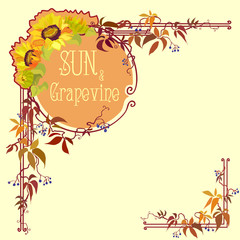 Decorative label with sunflower and grape