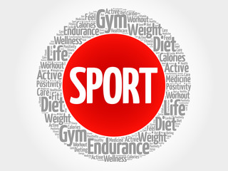 SPORT circle stamp word cloud, fitness, sport, health concept