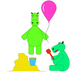 Two Hippo play in the sandbox and balloon. Hippo playing children games